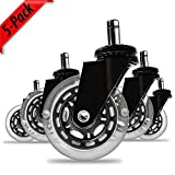 QUALWARES Office Chair Caster Wheels - Heavy Duty Office Chair Wheels that Roll Easily on Any Surface. Safe for All Floors Including Hardwood. Fits All Standard Office Chairs. Set of 5.