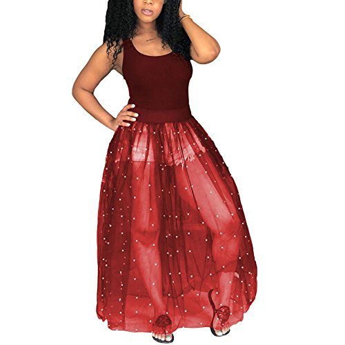 - Kafiloe Women Sexy Tank Bodycon Mesh See Through Beading Pearls Sheer Maxi Dress Ball Gown Skirt Wine Red XL