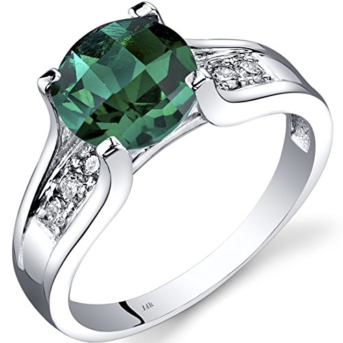 14K White Gold Created Emerald Diamond Cocktail Ring 1.75 Carats Size 6 ()