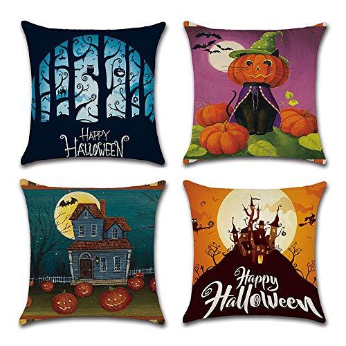 FADFAY Halloween Pillow Covers Linen Throw Pillow Cover Pumpkin Face Cat Moonlight Castle Owl Square Burlap Happy Halloween Decorative 18x18 Inches 4Pcs