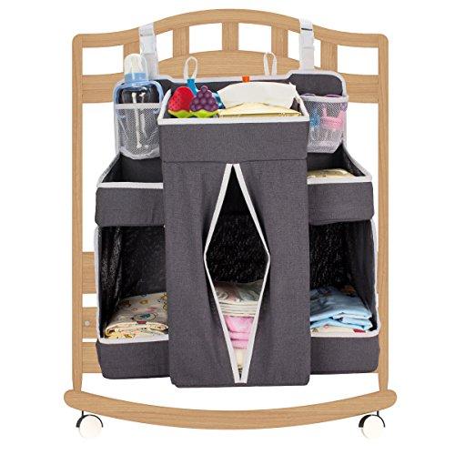 "Biubee Baby Large Diaper Nursery Organizer-17.3""x 20.5""x 7.1"" Changing Table Hanging Organizer Diaper Caddy Storage for Nursery Essentials(dark grey) from Biubee"
