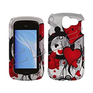 For Pantech Crux CDM8999 Case Cover Multiple Red Hearts on Silver Rubberized Design LTRDE-068