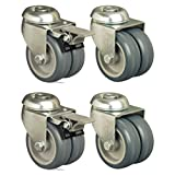 Set of 4 - 75mm Thermoplastic Wheel Castor Hole Fitting Twin Wheel Casters