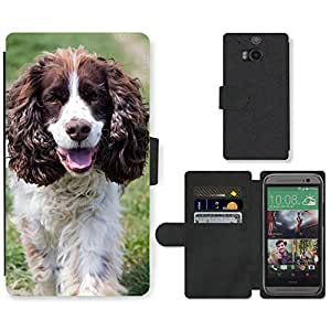 Super Stella Cell Phone Card Slot PU Leather Wallet Case // M00147988 Dog English Springer Spaniel // HTC One M8