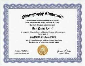Amazon.com: Photographer Photography Degree: Custom Gag Diploma ...