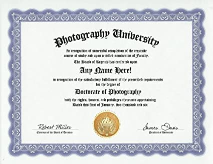 Amazon.com: Photographer Photography Degree: Custom Gag Diploma ...