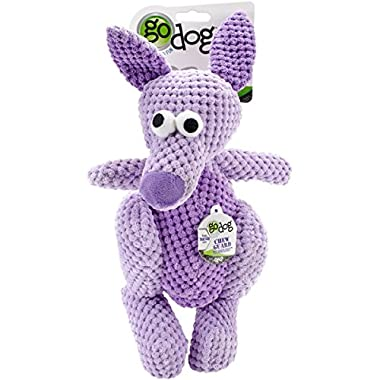 goDog Checkers Kangaroo with Chew Guard Technology Tough Plush Dog Toy, Purple, Large