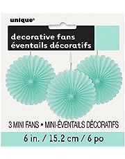 Unique Party 63267 - Mini Mint Tissue Paper Fan Decoraties, Pack van 3