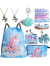 9PCS Drawstring Backpack for Unicorn Gift for Girls Include Makeup Bag Bracelet Necklace Set Hair Ties for Unicorn Party Favors(Blue)