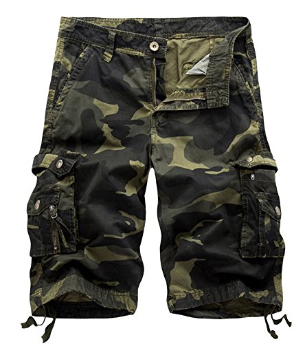 AOYOG Mens Camo Cargo Shorts Cotton, Drak Army Green Camouflage 083, Lable size 38(US 36) - Camo Military Shorts