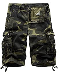 8038805080 Mens Camo Cargo Shorts Relaxed Fit Multi-Pocket Outdoor Camouflage Cargo  Shorts Cotton