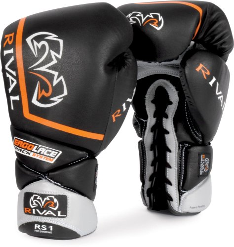 Rival High Performance Lace-Up Pro Sparring Gloves, Black, 14-Ounce