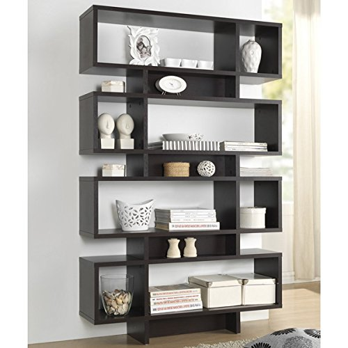 Display/ Storage Shelf Contemporary, Modern Ronan Dark Brown/ Espresso Modern Storage Shelf - Assembly Required FP-8DS-Shelf (3A). 70.25 in High x 44 in Wide x 11 in Long by Baxton S.