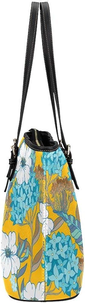 Handbags For Teen Girls Orange Retro Beautiful Hydrangea Leather Hand Totes Bag Causal Handbags Zipped Shoulder Organizer For Lady Girls Womens Shopping Tote Bag