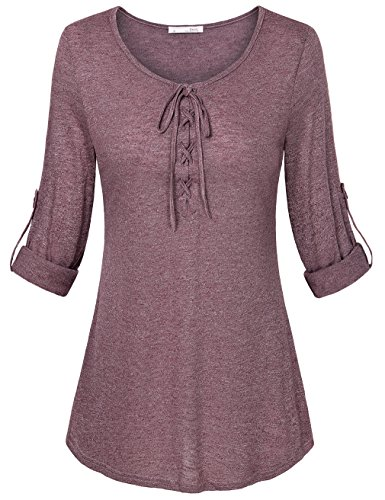 Plus Size Long Sleeve Tops,Messic Women's Stylish Lace Up Curved Hem Loose Fit Petite Tunic (Plus Size Teen)