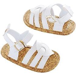 Carter's Girls' Baby Crib Shoe Sandal, White/Tan, Newborn Regular US Infant