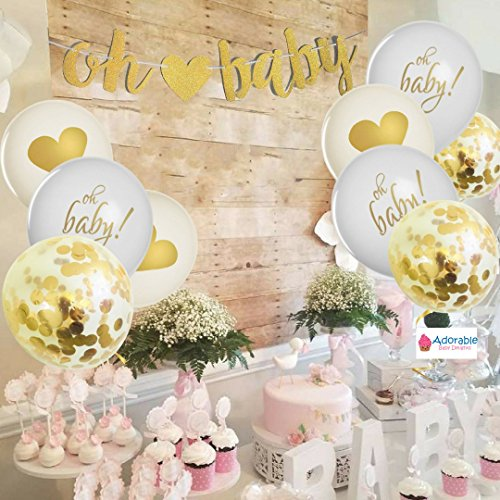 Baby Shower Party Decorations | Neutral Decor | Beautiful Banner (OH BABY), 9 PC Balloons (GOLD, CONFETTI, WHITE), and Ribbon Party Set | Hang Anywhere | Glitter Unisex Pregnancy Announcement Party