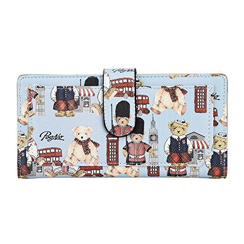 Credit Clutch Wallet Holder Leather Blue Bear Women's Card Fashion Bag Purse Long Kukoo Button wqAnf0znH