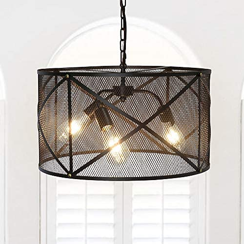 3-Light Metal Mesh Pendant Lighting Drum Black Shade Chandelier for Kitchen Dining Room