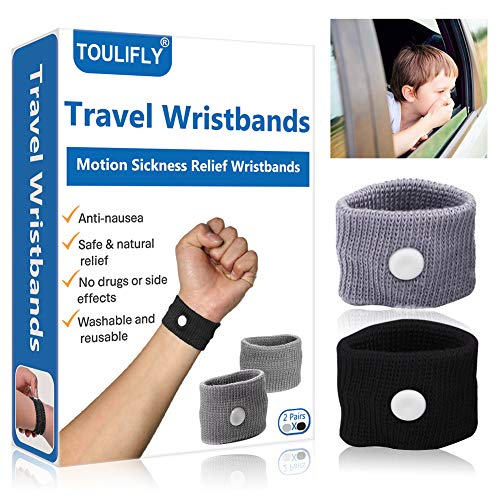 Travel Wristbands,Travel Motion Sickness Relief Wrist Band,Natural Nausea Relief, 2-Pair (Natural Remedies For Car Sickness In Toddlers)