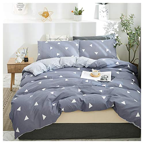 Elephant Soft King Bedding Duvet Cover Set, Premium Microfiber,Blue Gray Triangles Pattern On Comforter Cover-3pcs:1x Duvet Cover 2X Pillowcases,Comforter Cover with Zipper Closure (King)