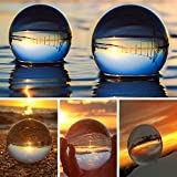 SunAngel Photo Crystal Ball,Optical Glass Spheres, K9 Crystal Sphere Ball, LensBall Crystal Photography Ball (80MM+60MM +2PCS Square Crystal Stand)