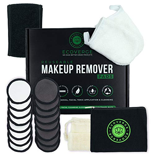 EcoVerge Reusable Makeup Remover Pads Bundle - 16 Pack w/Laundry Bag - 3 Layer Bamboo Charcoal, Velour, Microfiber Design - Washable Organic Cotton Rounds - Facial Cleansing Toner Wipes
