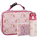 Bentology Unicorn Lunch Bag Kit- Girls School Lunchbox Set- Includes Insulated Lunch Sleeve, Insulated 13oz Water Bottle, and Ice Pack - BPA & PVC Free - Unicorn