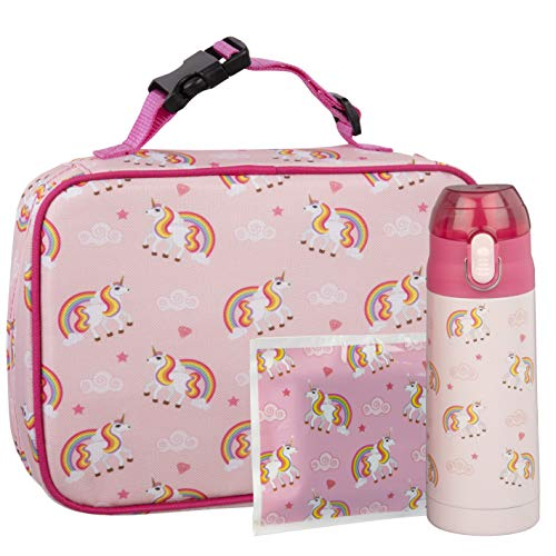 Bentology Unicorn Lunch Bag Kit- Girls School Lunchbox Set- Includes Insulated Lunch Sleeve, Insulated 13oz Water Bottle, and Ice Pack - BPA & PVC Free - Unicorn (Lunch Box Girls Insulated)