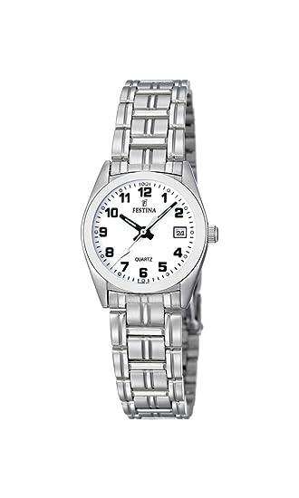 Festina F8826/4 - Reloj analógico de cuarzo para mujer con correa de acero inoxidable, color plateado: Amazon.es: Relojes