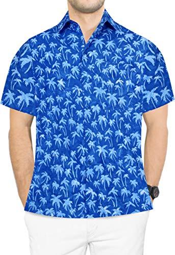 LA LEELA Men's Beach Funky Hawaiian Shirt Short Sleeve Front Pocket M Blue_Aa172