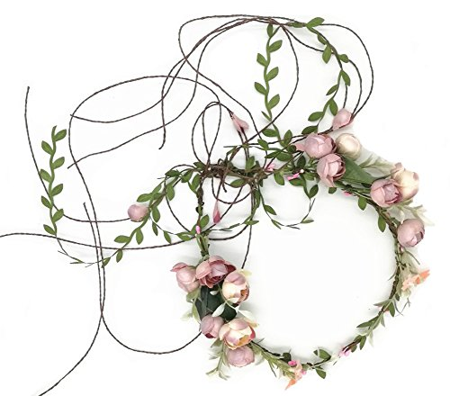 Floral Fall Adjustable Bridal Flower Garland Headband Flower Crown Hair Wreath Halo F-83 (A) - Infant Natural Apparel