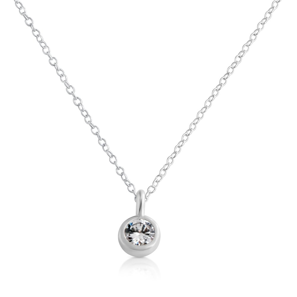 14 Inches Azaggi Sterling Silver 4mm Bezel Pendant Charm Necklace with Cubic Zirconia