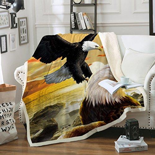 "Sleepwish Eagles Blanket Bird Design Ultra Plush Blanket Eagle Print Fleece Sherpa Throw Blanket for Bed Couch Sofa Chair Office (Sunset Ocean Mountain, 50"" x 60"")"