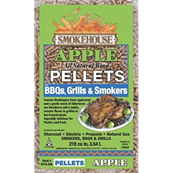 Smokehouse Products 9770-020-0000 5-Pound Bag All Natural Apple Flavored Wood Pellets, Bulk