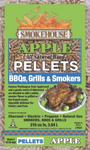 Smokehouse Products 5-Pound Bag All Natural Apple Flavored Wood Pellets, Bulk