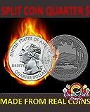 MAGIC QUARTER DOLLAR SPLIT COIN / US 25 CENT SPLIT COIN MAGIC / COIN THRU BAG