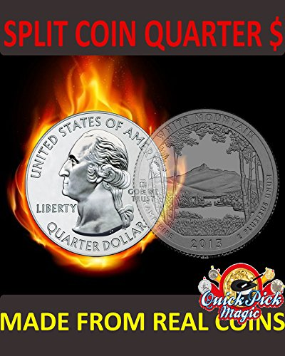 Magic Quarter Dollar Split Coin / US 25 Cent Split Coin Magic / Coin Thru Bag ()