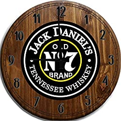 TBA Large Wall Clock Jack Daniel's Tennessee Whiskey Bar Sign Home Décor Classic Walnut 18 inch Wall Decor
