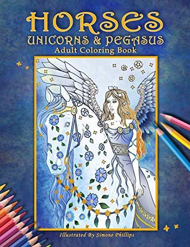 Horses, Unicorns & Pegasus: Adult Coloring Book