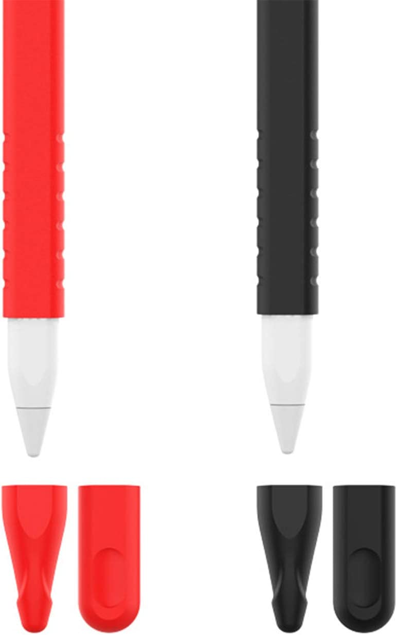 TYPLAUSE Nib Cover Case Holder for Apple Pencil 2nd Generation (2 Pack) Silicone Tip Cover Sleeve Skin iPad Pro (Red+Black)