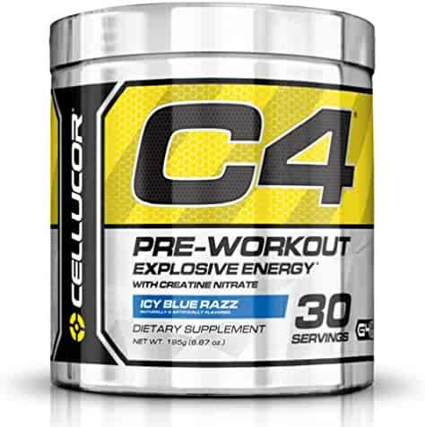 Cellucor, C4 Pre Workout (Original Formula) Supplements with Creatine, Nitric Oxide, Beta Alanine and Energy, G4v1, Icy Blue Razz, 30 Servings, Amazon Exclusive-Limited Availability