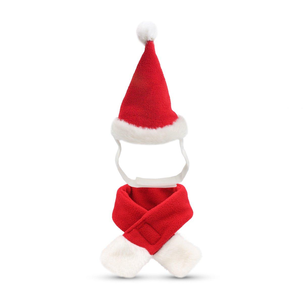 Amazon.com : Pet Leso Cat Christmas Hat with Muffler Puppy Dog Santa ...