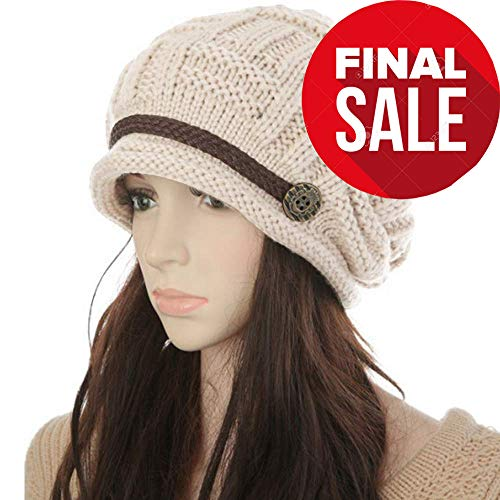 KirGiabo Slouchy Beanie for Women,Warm Wool Winter Hats, Soft Cable Knit Hat,Oversized Cashmere Ski Cap (Beige)