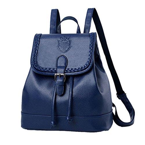 Sentao Mochila de cuero PU Elegante Bolso de mano de moda para las mujeres Oscuro Azul