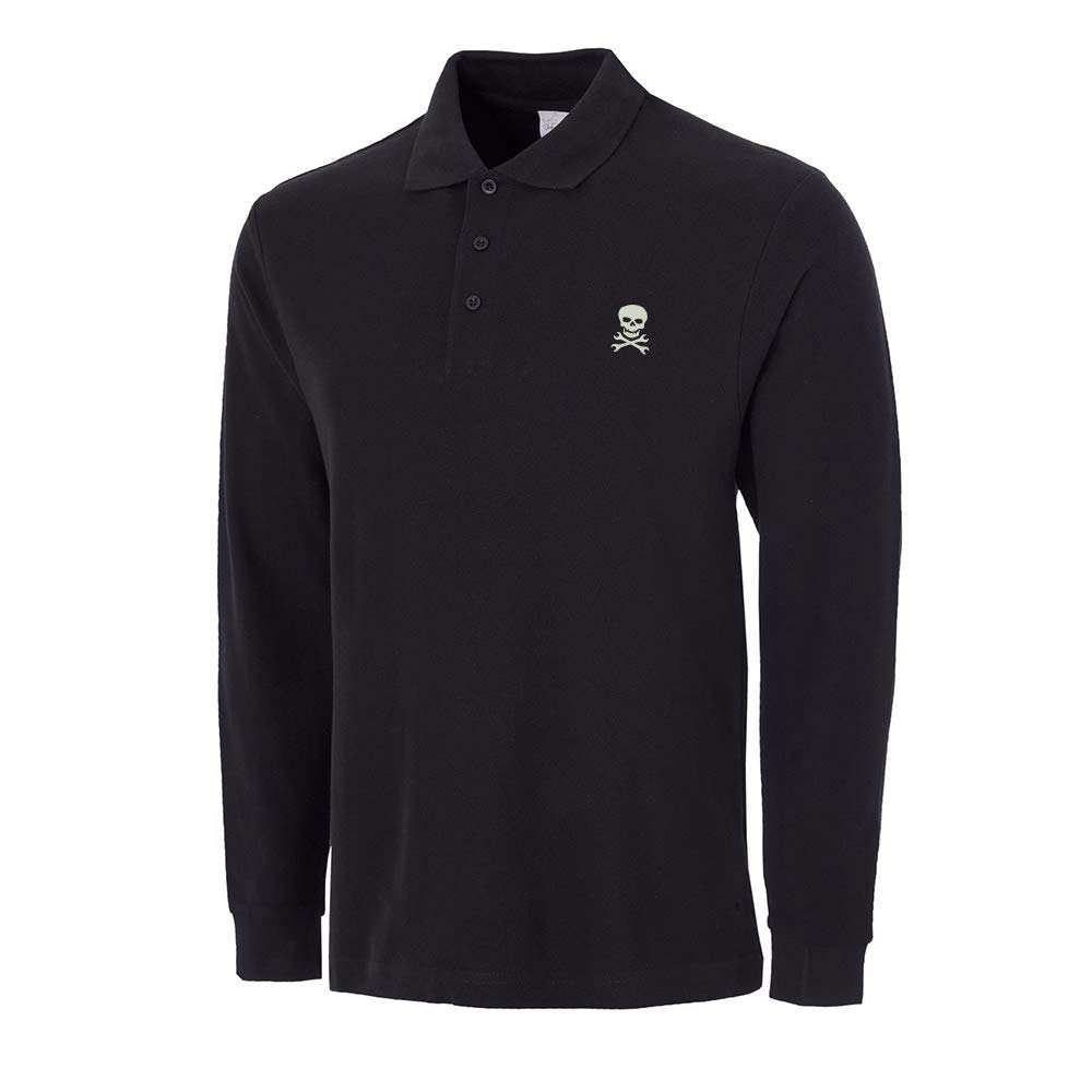 Lexiu Yibai Classic Skull with Crossed Embroidery Long Sleeve Polo Shirts Embroidered Shirts