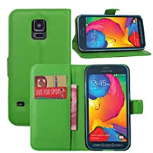 Premium Leather Wallet [ Flip Bracket ] Case Cover for Samsung Galaxy S5 Active (Wallet - Green)