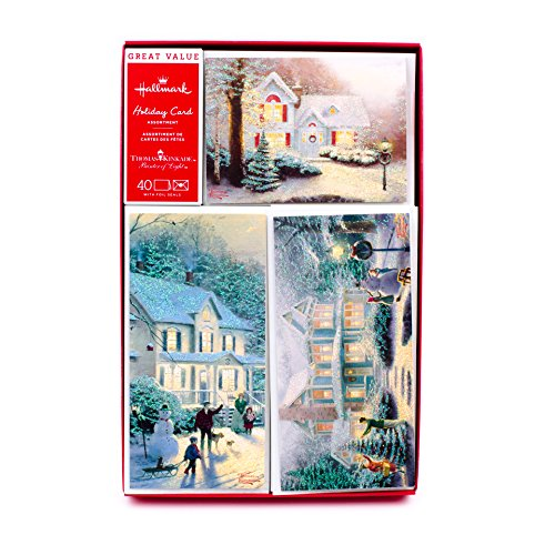 Hallmark Thomas Kinkade Boxed Christmas Cards Assortment, Snowy Houses (40 Cards with Envelopes and Foil Seals) (Kinkade Victorian Christmas Thomas Snowman)