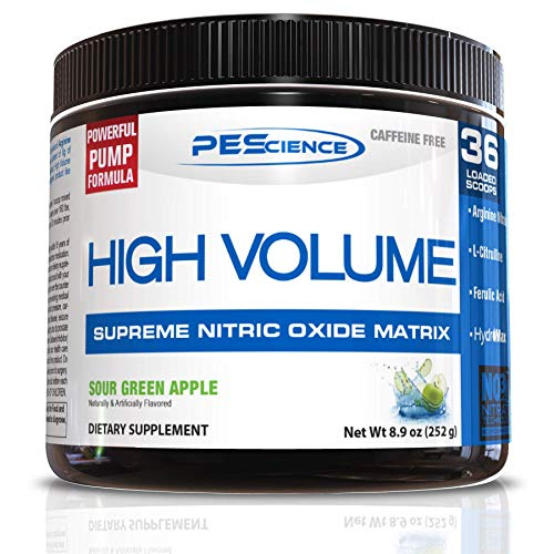 PEScience High Volume Nitric Oxide Booster Pre Workout Powder with L Arginine Nitrate, Green Apple, 36 Scoops, Caffeine Free
