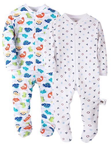 Marquebaby Dinosaurs & Anchor Baby Boys' Footed Pajama - 100% Cotton Zip Front Sleep and Play Sleeper 18M Dinosaur Footed Sleeper